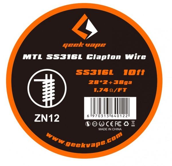 GeekVape 3 Meter SS316L MTL Clapton Wire (0.32mm*2+0.26mm) Wickeldraht - ZN12